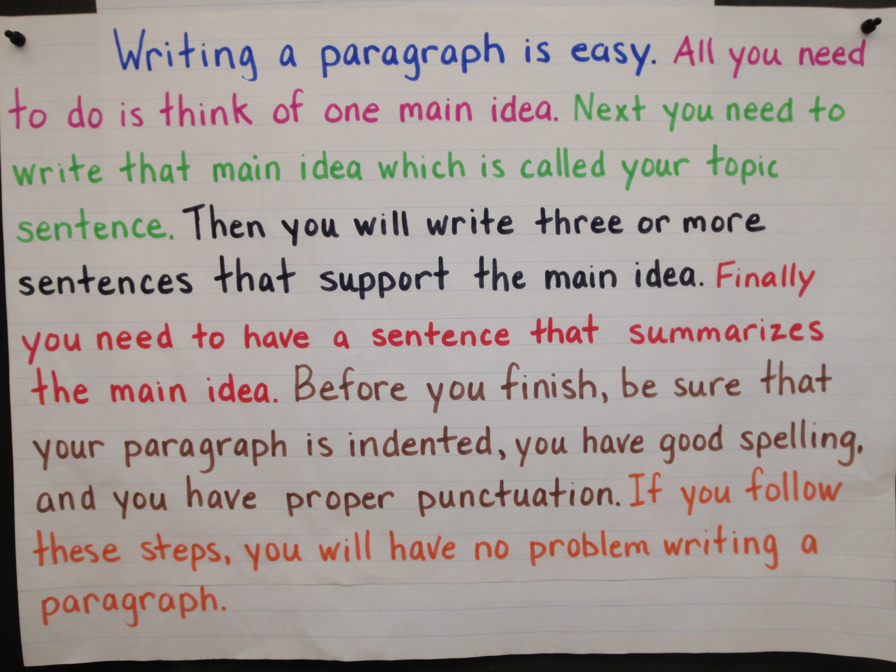 how to write a paragraph ms duemm s class
